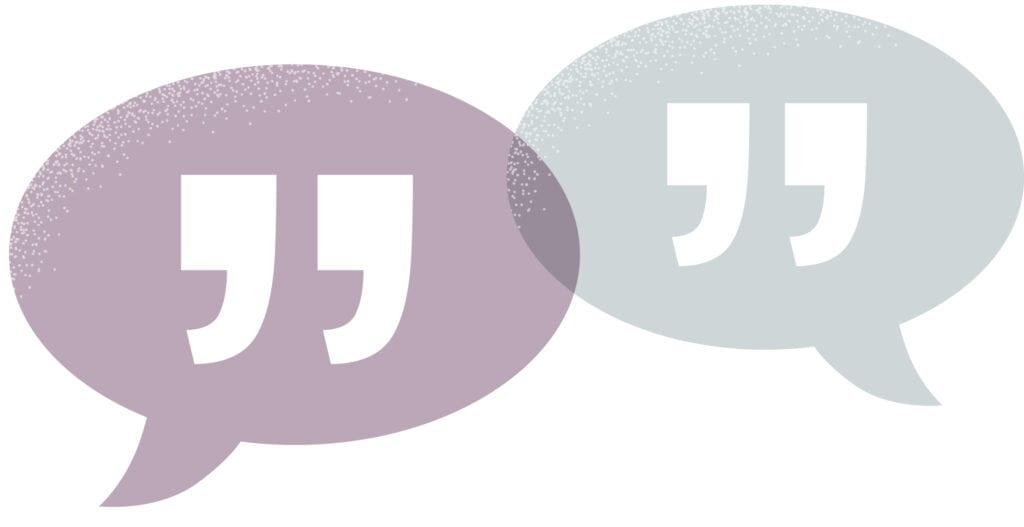 Pratbubblor symboliserar dialog